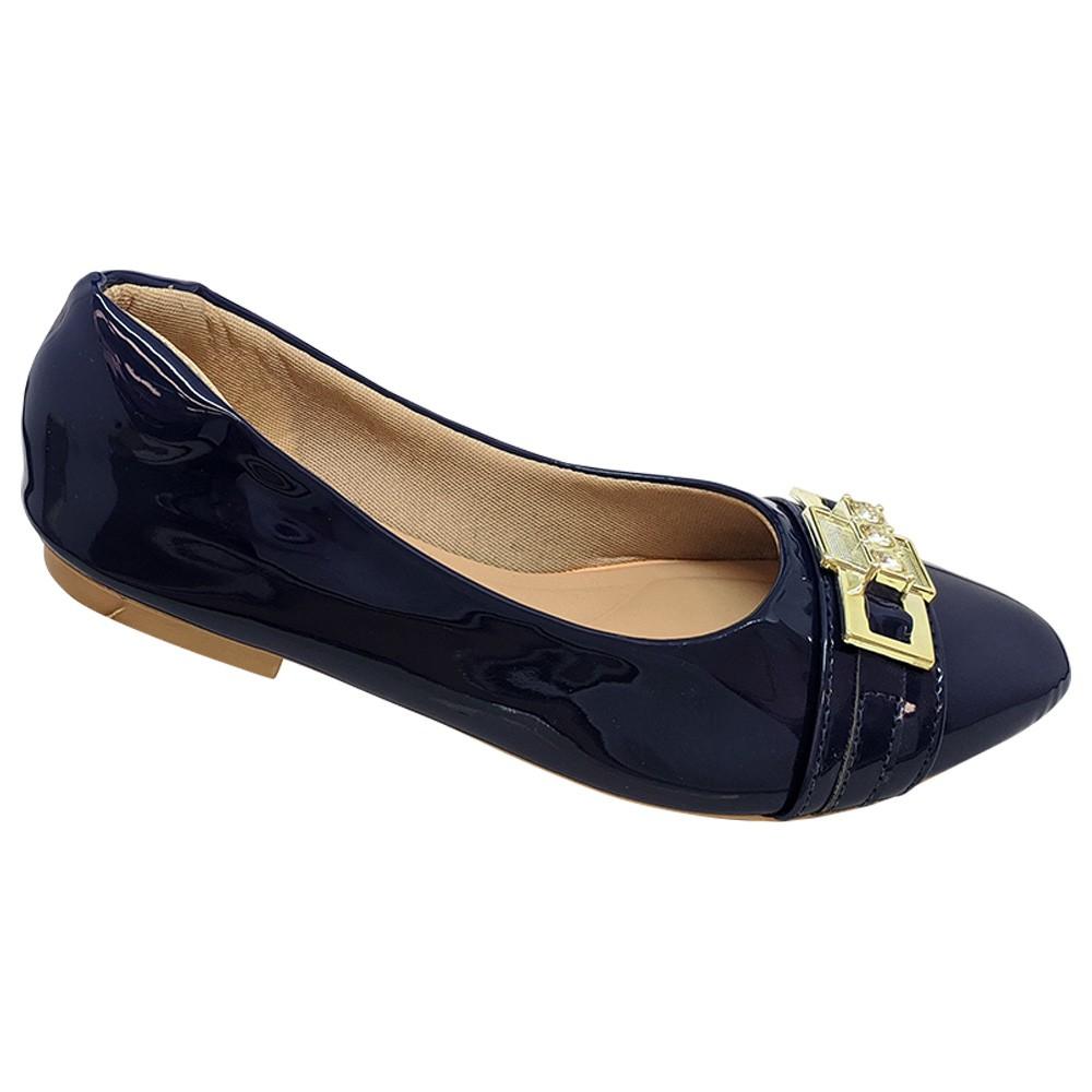 Sapatilha Confort  Napa Azul Marinho com ABS Dourado