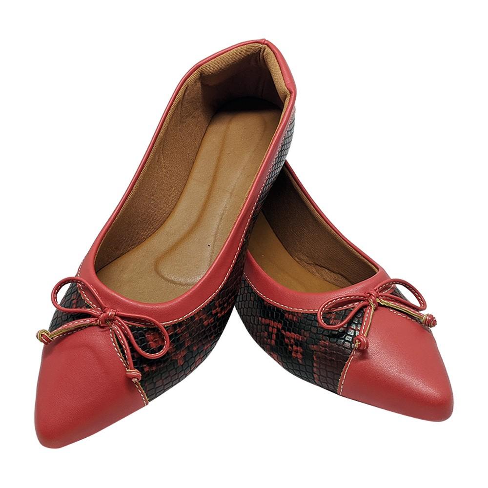 Sapatilha Confort Napa/Croco vermelho
