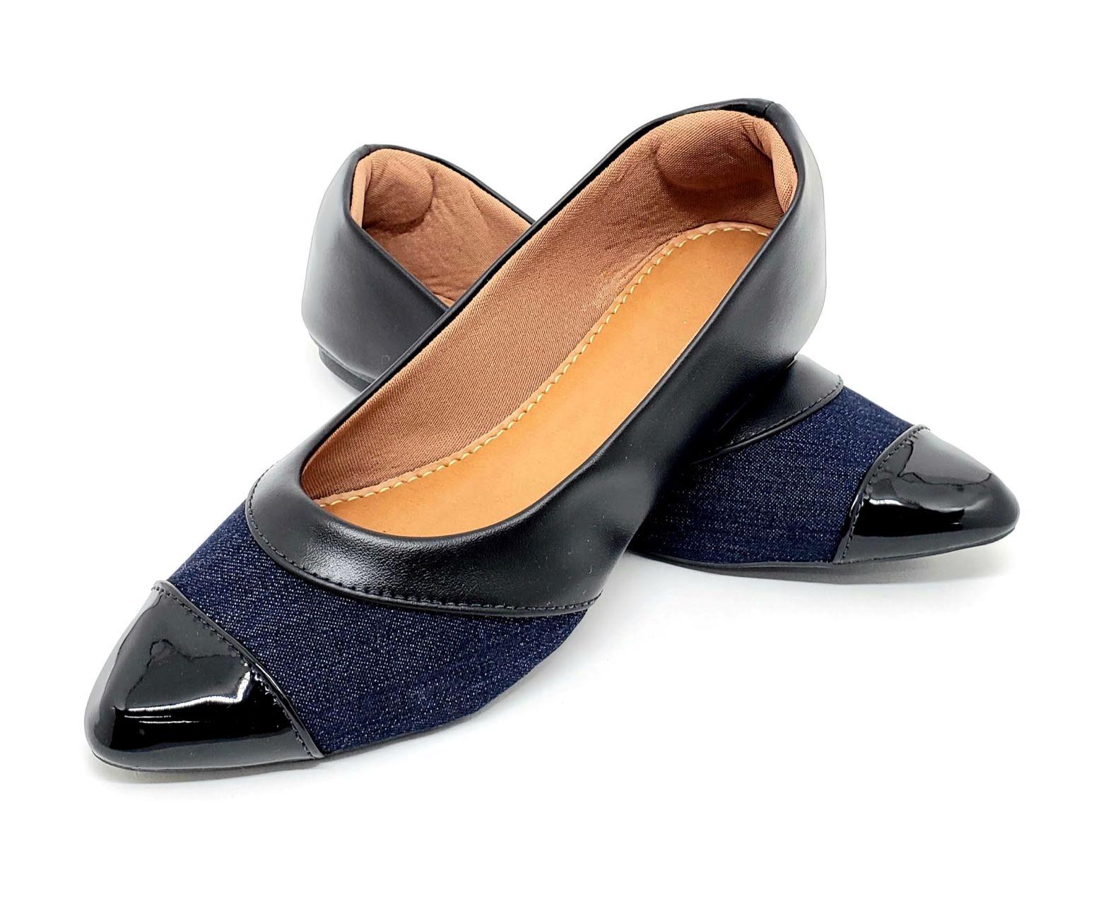 Sapatilha Confort Napa Preto c/ Detalhes Jeans
