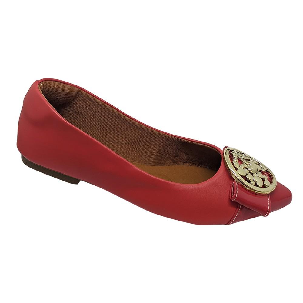 Sapatilha Confort Napa/verniz vermelho Fivela