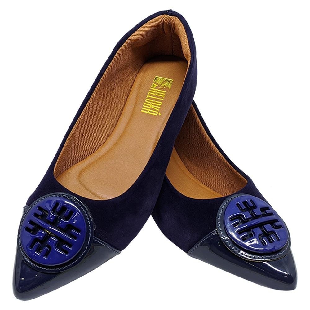 Sapatilha Confort  Nobuck/Verniz com ABS Azul Marinho