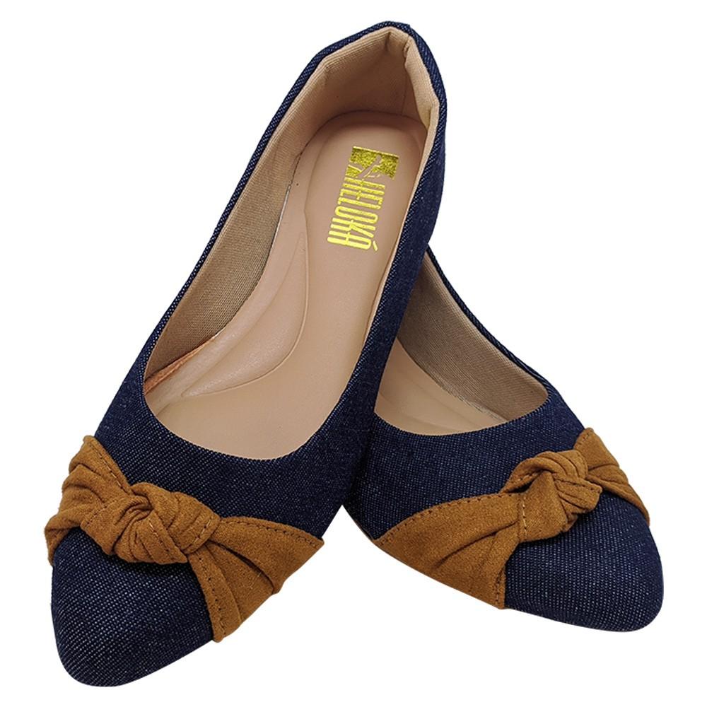 Sapatilha Confort  Tecido Jeans /Nó Caramelo