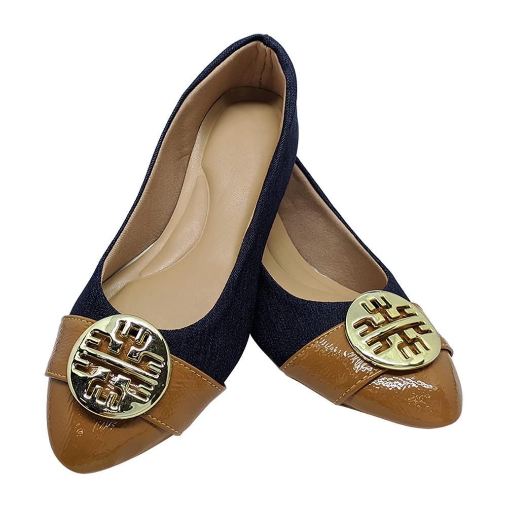 Sapatilha Confort Tecido/Napa Jeans-Caramelo com ABS Dourada