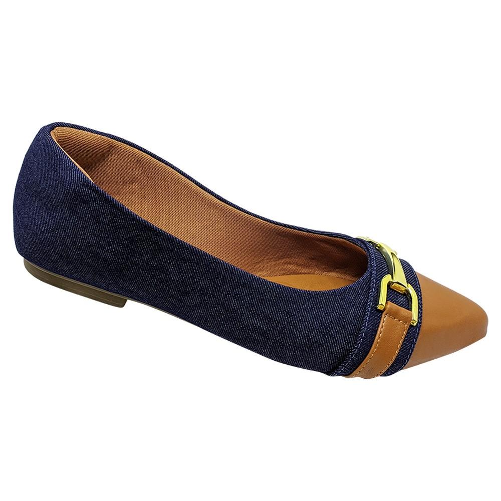 Sapatilha Confort Tecido/Napa Jeans-Caramelo com Fivela