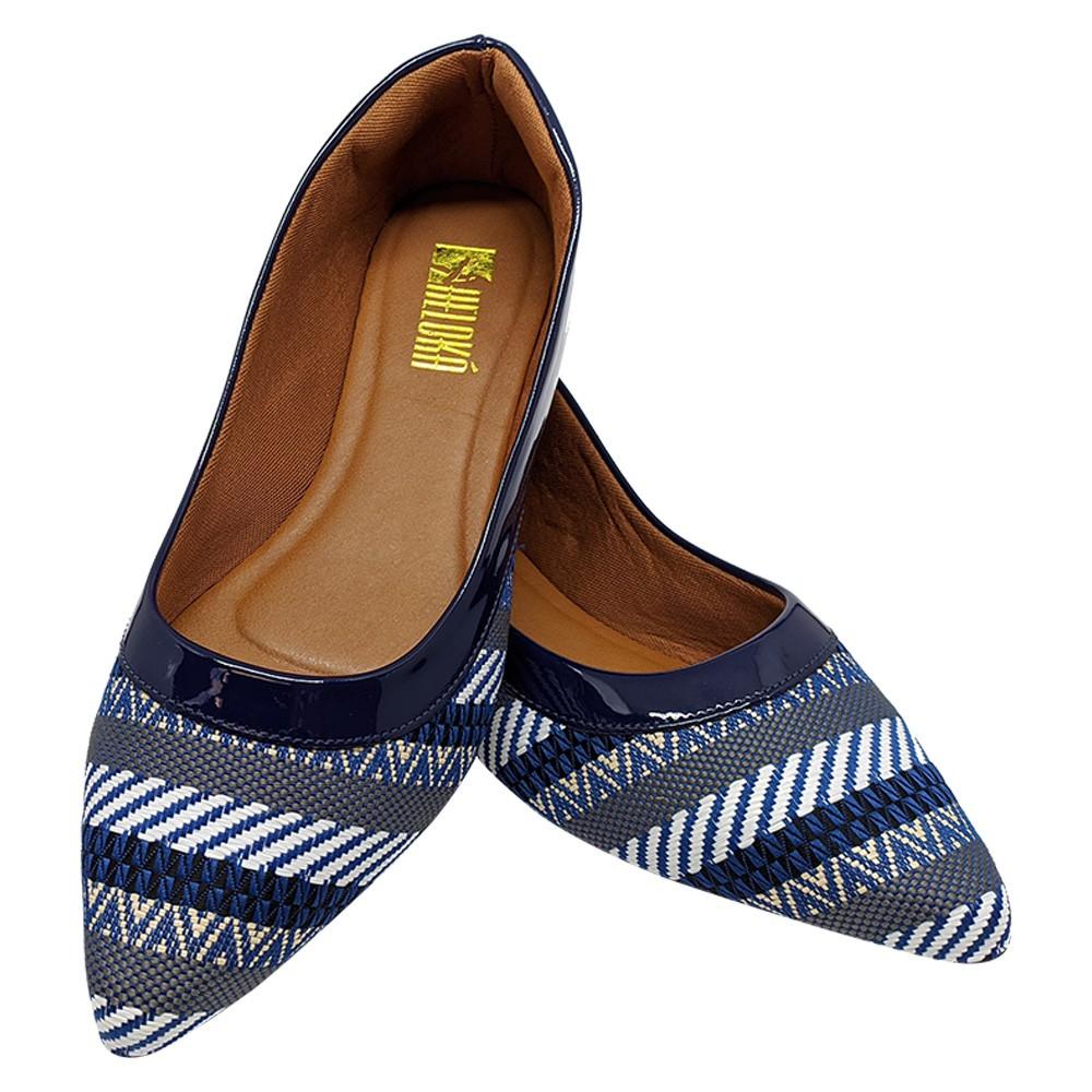 Sapatilha Confort  Tecido/Verniz Azul Marinho
