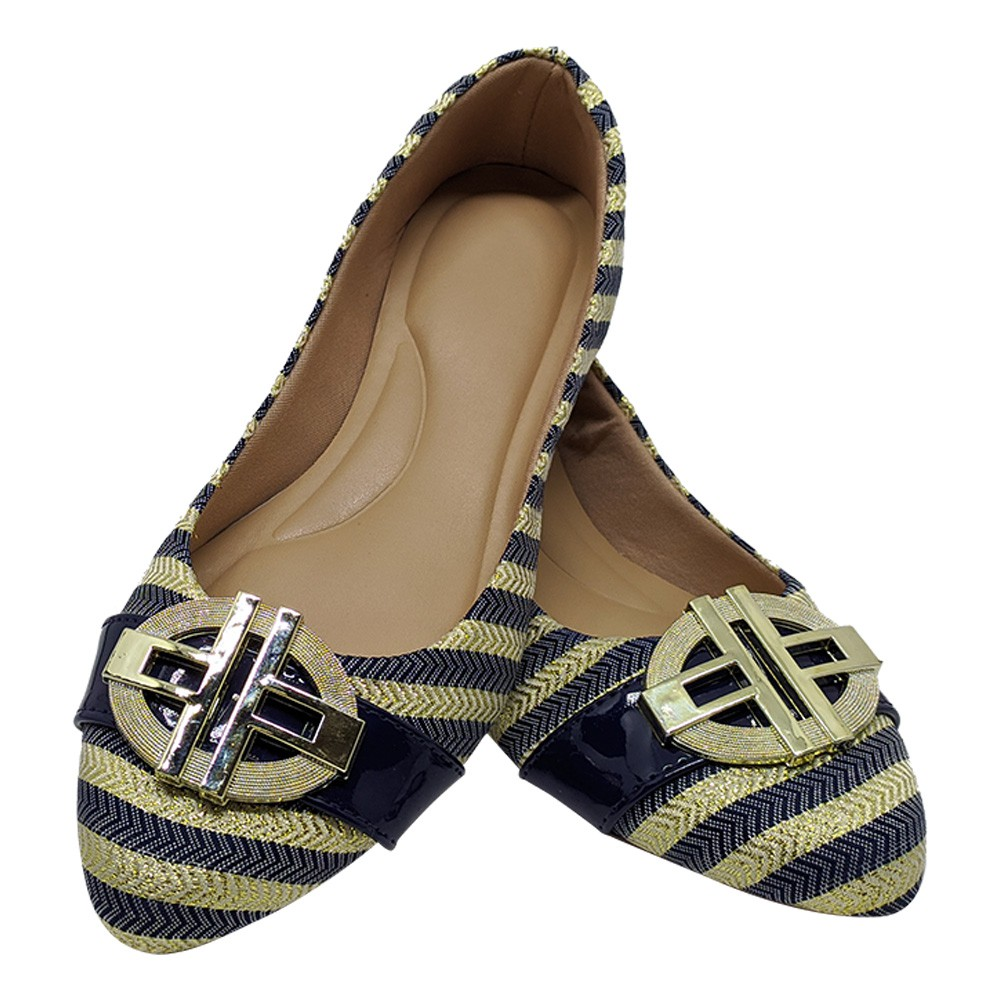 Sapatilha Confort Tecido/ Verniz Azul Marinho Com Abs Dourado