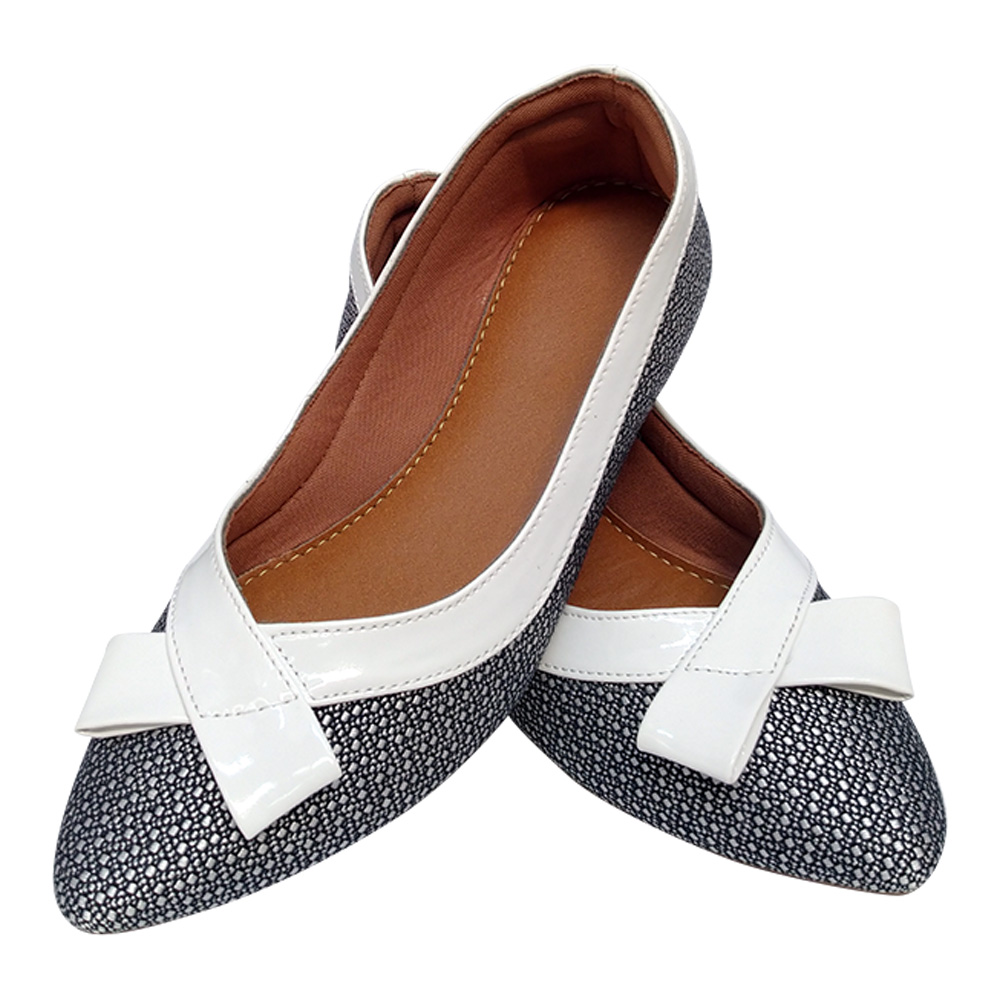 Sapatilha Confort  Tecido /Verniz laço -Branco