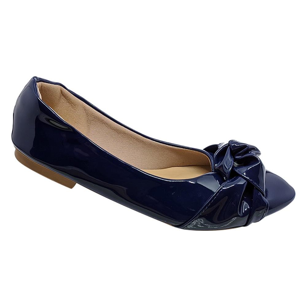Sapatilha Confort Verniz Azul Marinho-Nó