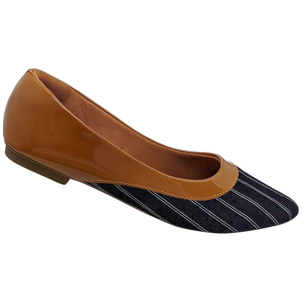Sapatilha Confort  Verniz Caramelo/tecido azul Marinho Listrado