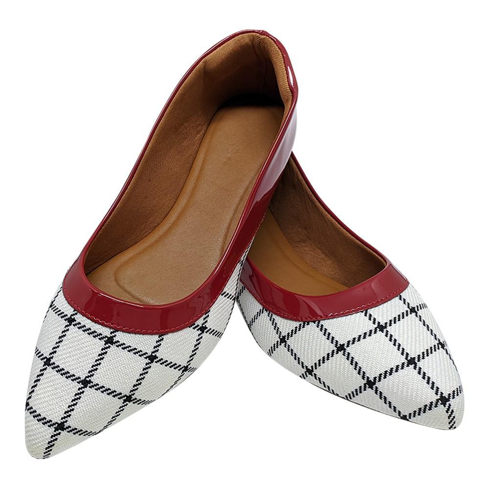 Sapatilha Confort  Verniz Vermelho/Tecido Branco Xadrez
