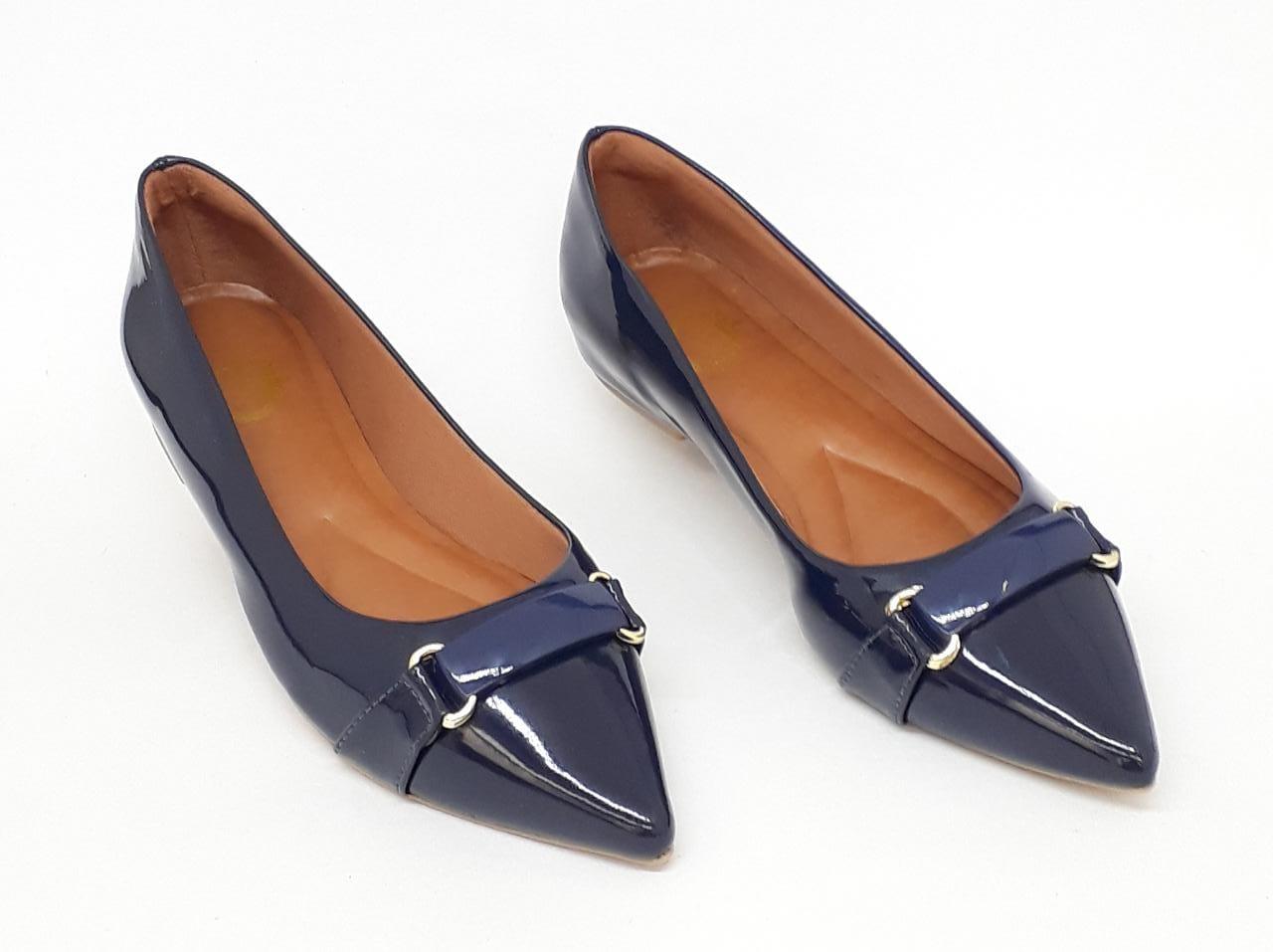 Sapatilha Luxo Heloka Bico Fino Verniz Azul