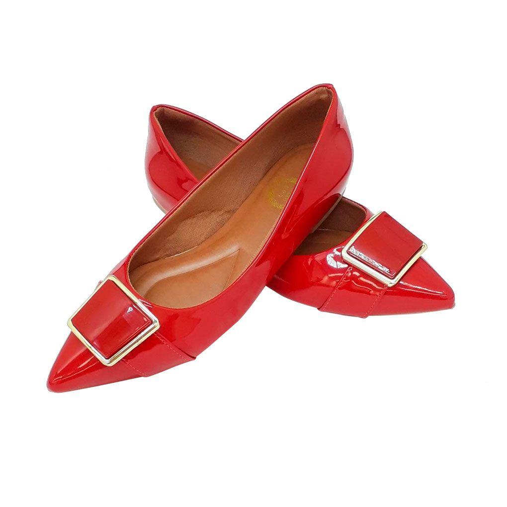 Sapatilha Luxo Heloká Bico Fino Verniz Vermelha