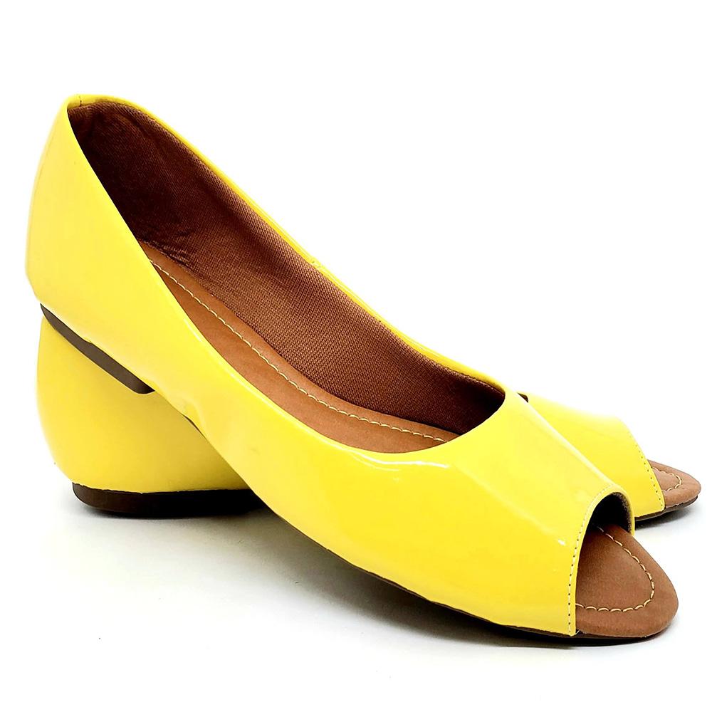 Sapatilha Tradicional Feminina Peep Verniz Amarelo