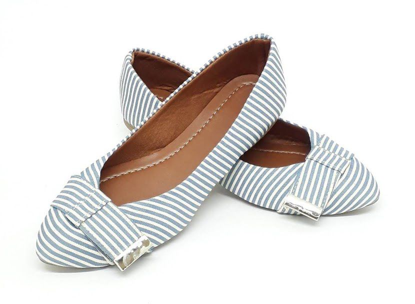 Sapatilha Tradicional Heloká Bico Fino Jeans Listrado Azul Branco