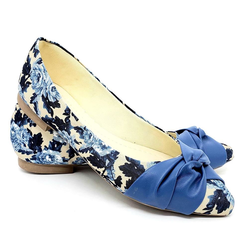 Sapatilha Tradicional Heloká Napa/Tecido Floral Azul