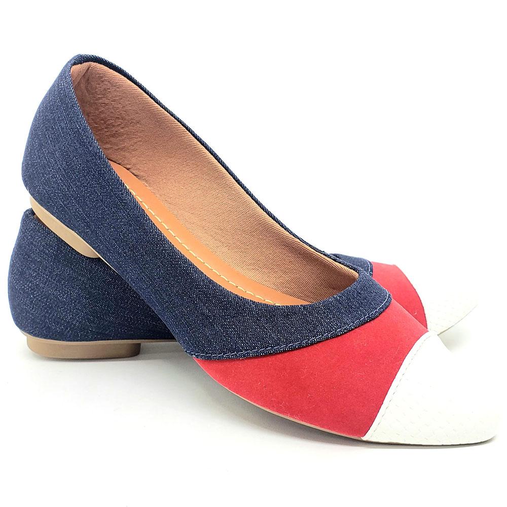 Sapatilha Tradicional Jeans/Camurça Vermelho/Traçado Branco