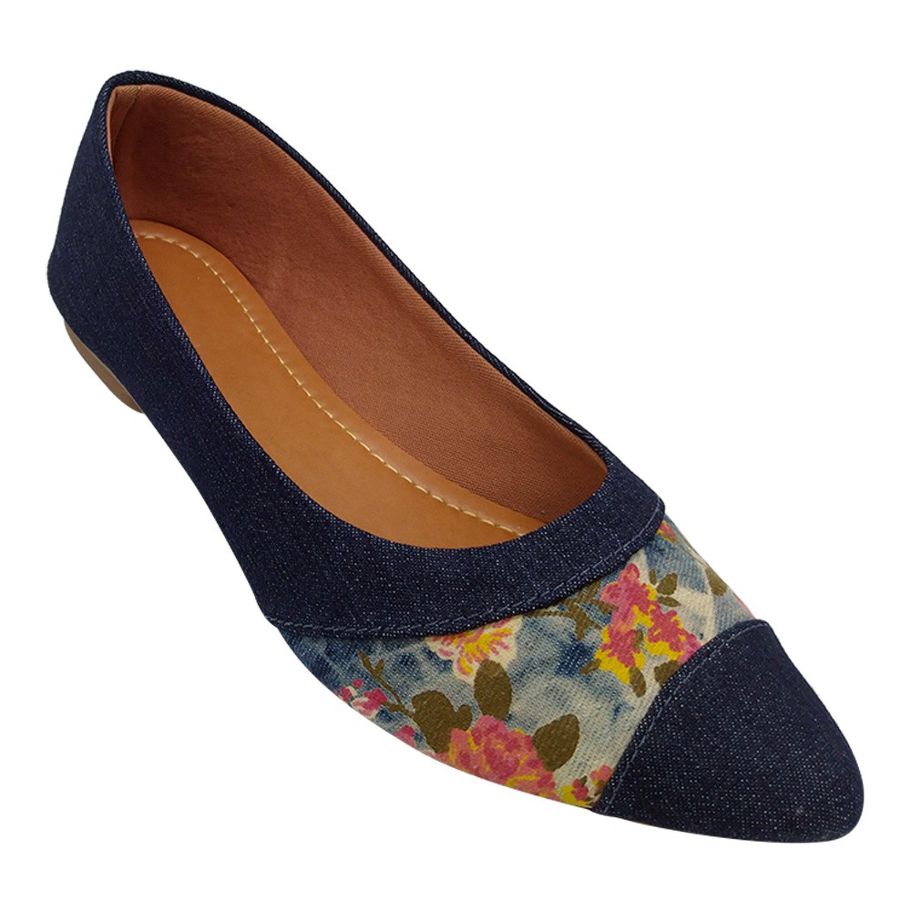 Sapatilha Tradicional Jeans/Tecido Floral