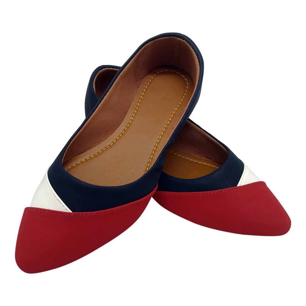 Sapatilha Tradicional Napa Azul Marinho/Branco/Vermelho