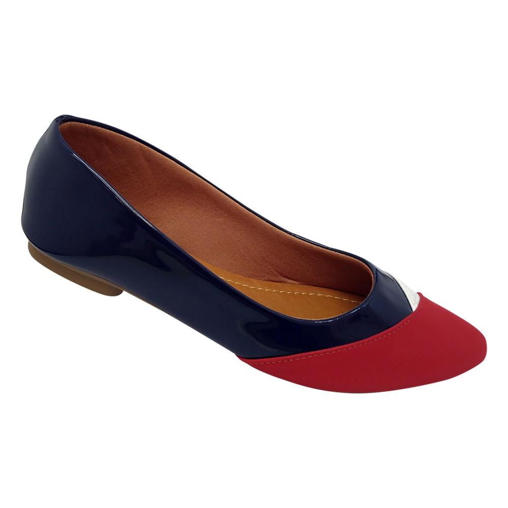 Sapatilha Tradicional Napa Azul Marinho/Vermelho/Branco