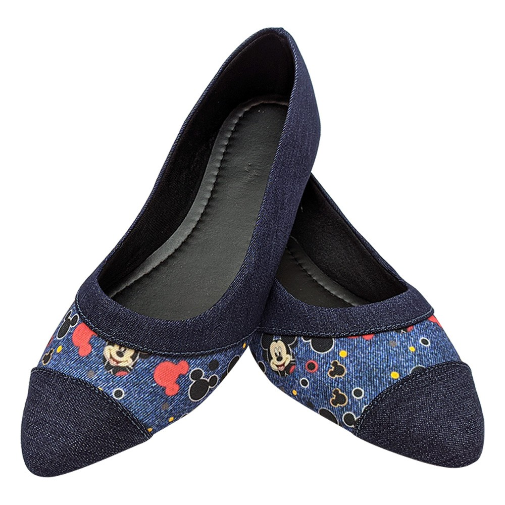 Sapatilha Tradicional Tecido Jeans Mickey