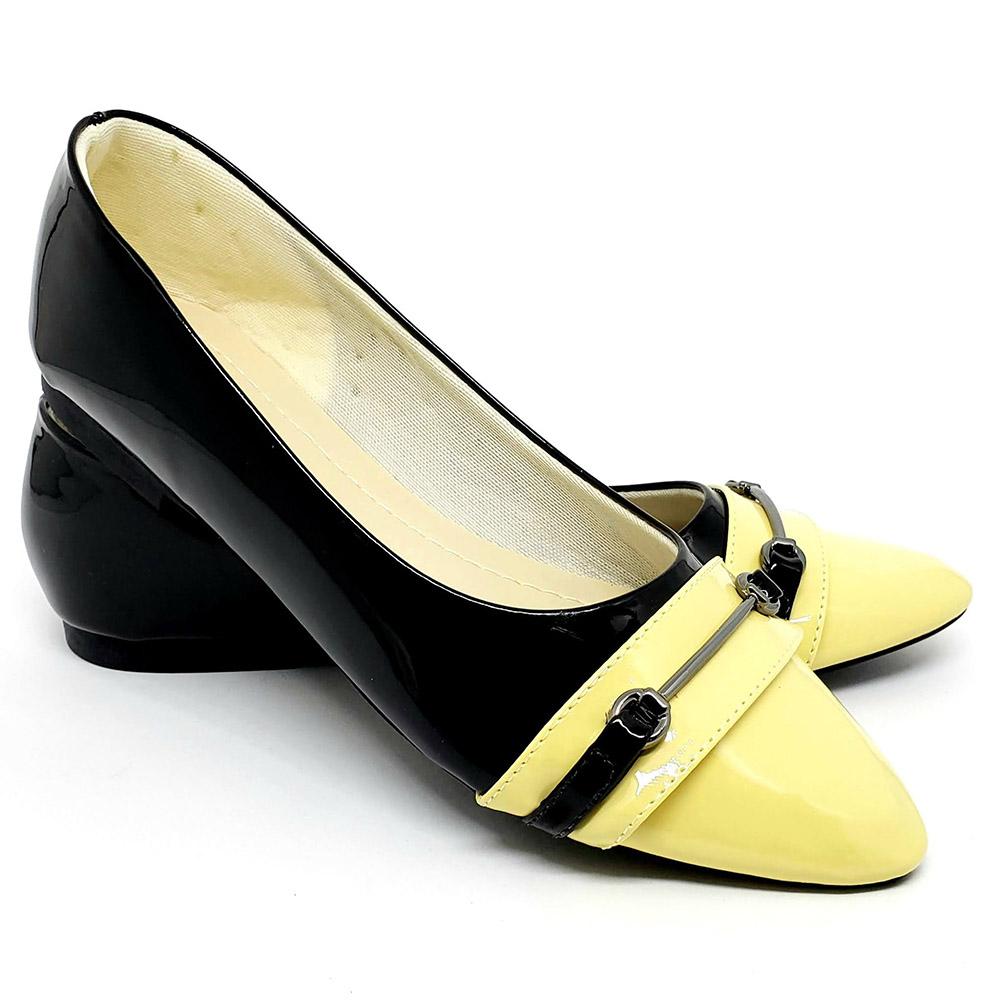 Sapatilha  Tradicional Verniz Preto/Amarelo Com Fivela