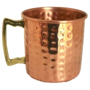Caneca em Cobre Martelada com Alça de Bronze