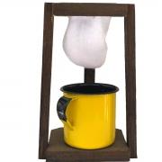 Kit Coador de Café em Madeira com Caneca Esmaltada Amarela 180ml
