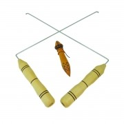 Kit Dual Rod em Madeira para Radiestesia + Pêndulo Modelo P-03 em Madeira com Chumbo