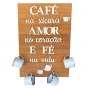 Quadro Decorativo em Madeira + 4 Canecas Esmaltadas Branca Lisa 150 ml