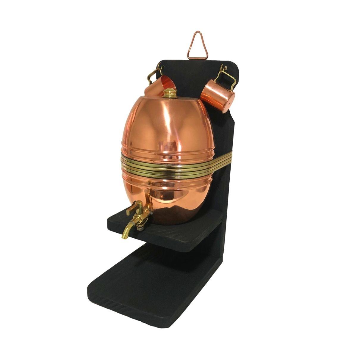 Barril de Cobre Liso 2 litros + 2 Canequinhas de Cobre