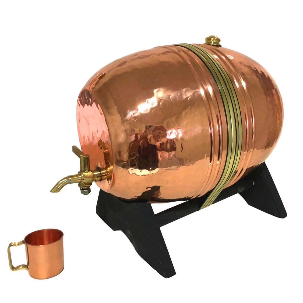 Barril de Cobre Martelado 5 litros + 1 Canequinha de Cobre