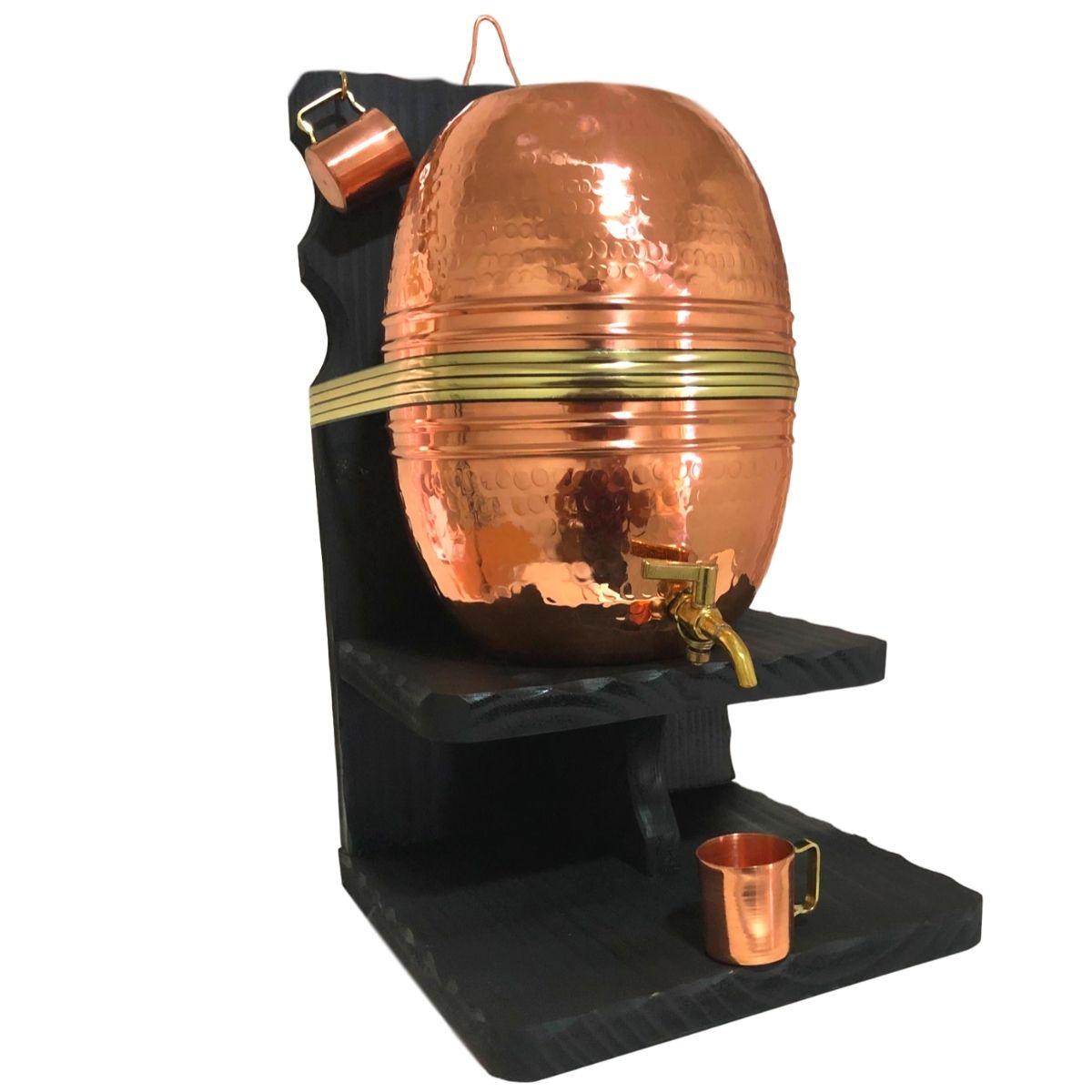 Barril de Cobre Martelado 5 litros + 2 Canequinhas de Cobre
