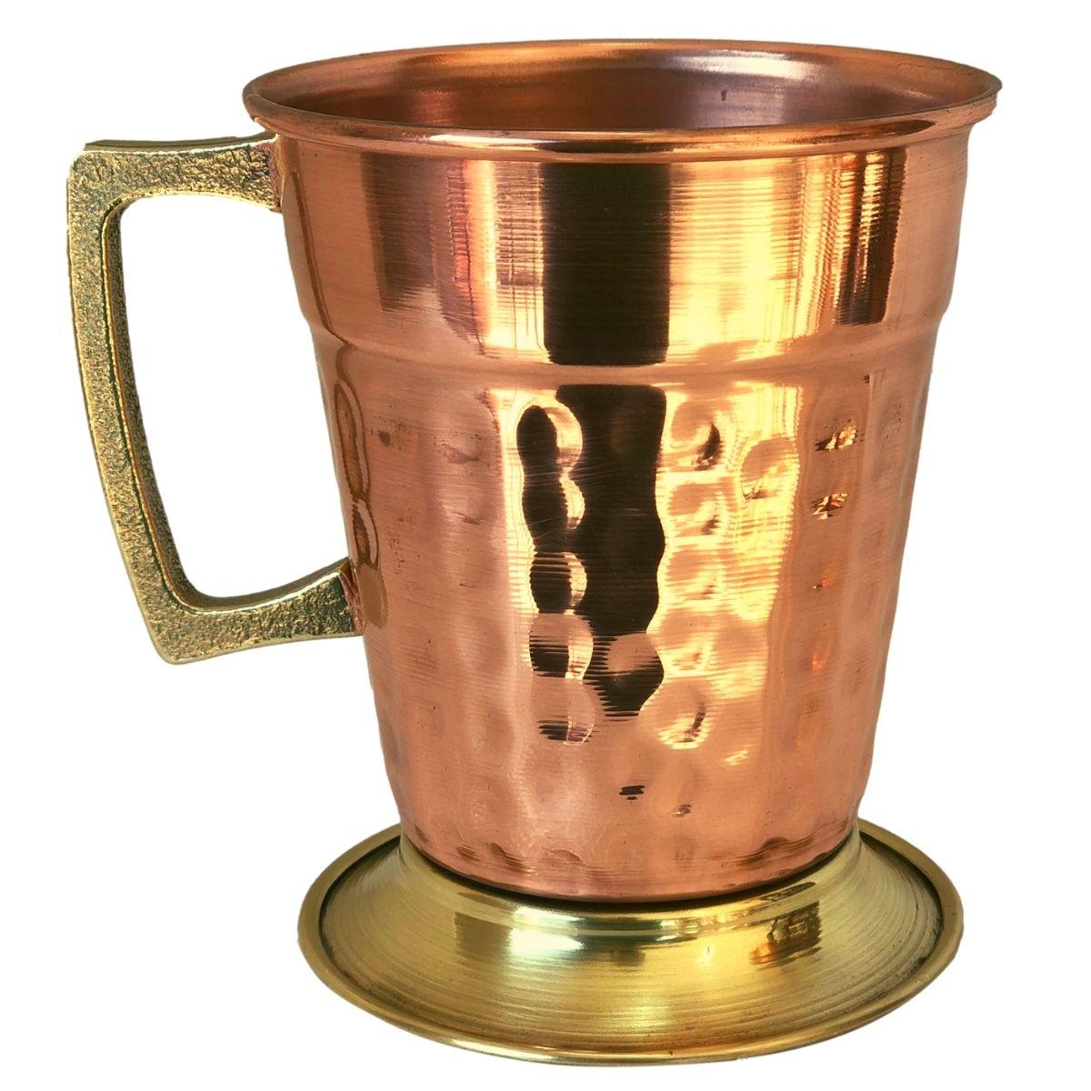 Caneca de Cobre Martelada Drink Beer (Alça Bronze) 350 ml