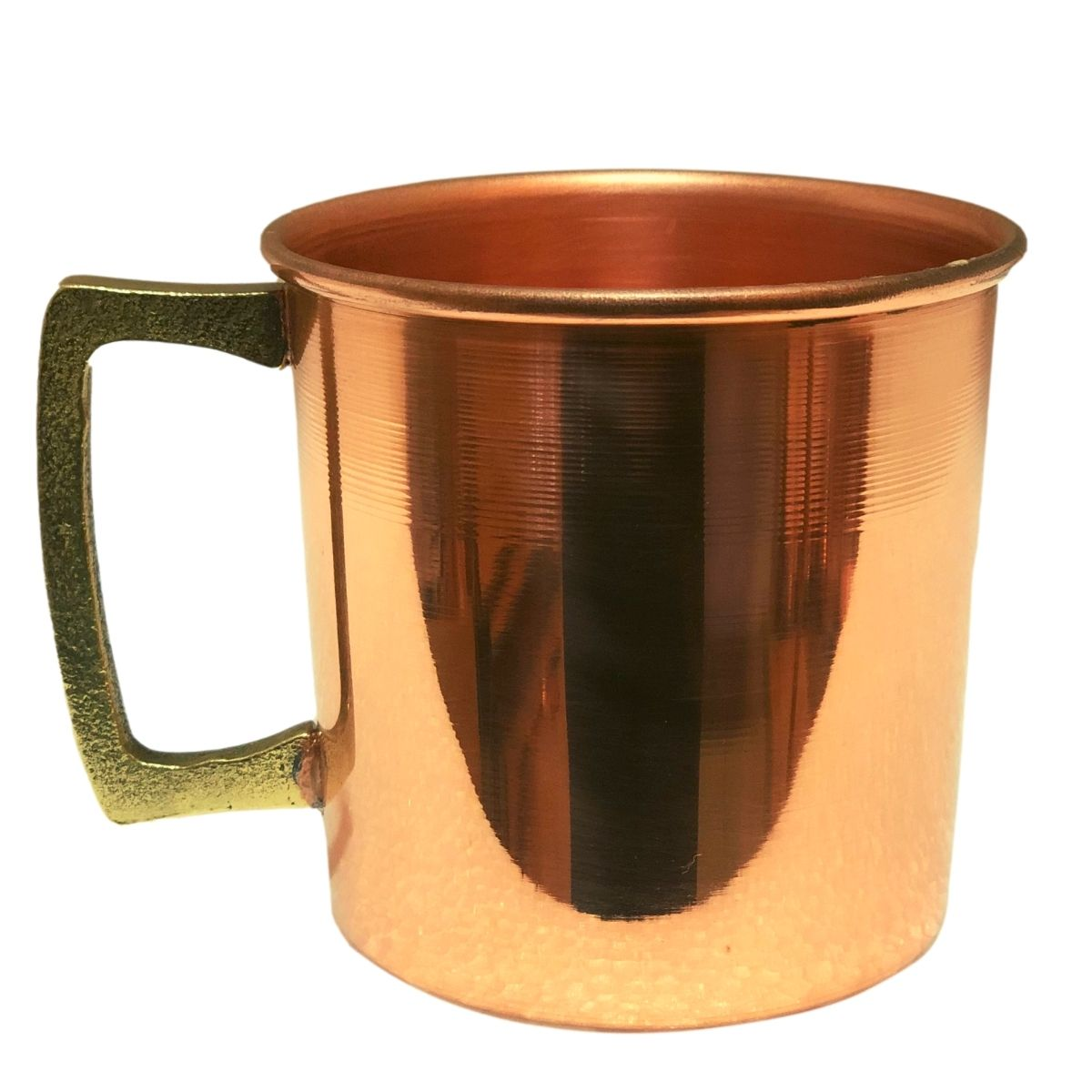 Caneca em Cobre Lisa com Alça de Bronze