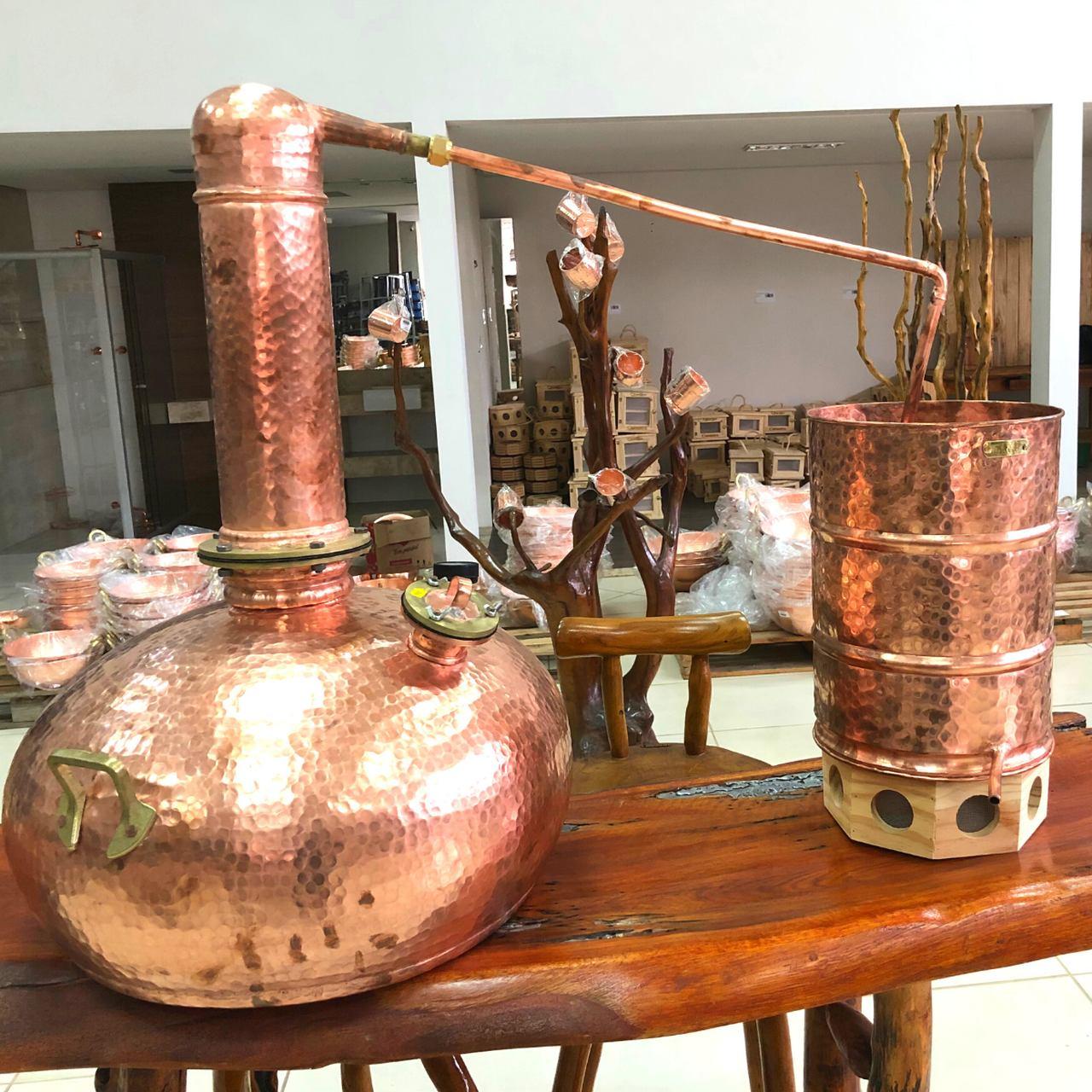 Alambique em cobre Completo com Termômetro 20 Litros