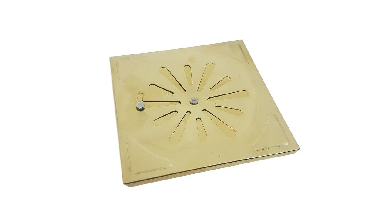 Grelha Para Ralo Manual Dourada 15 x 15