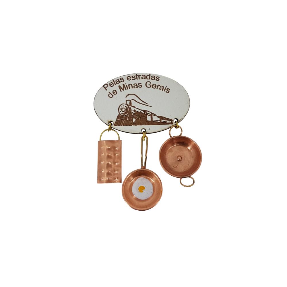 Imã de Geladeira com Miniaturas em Cobre