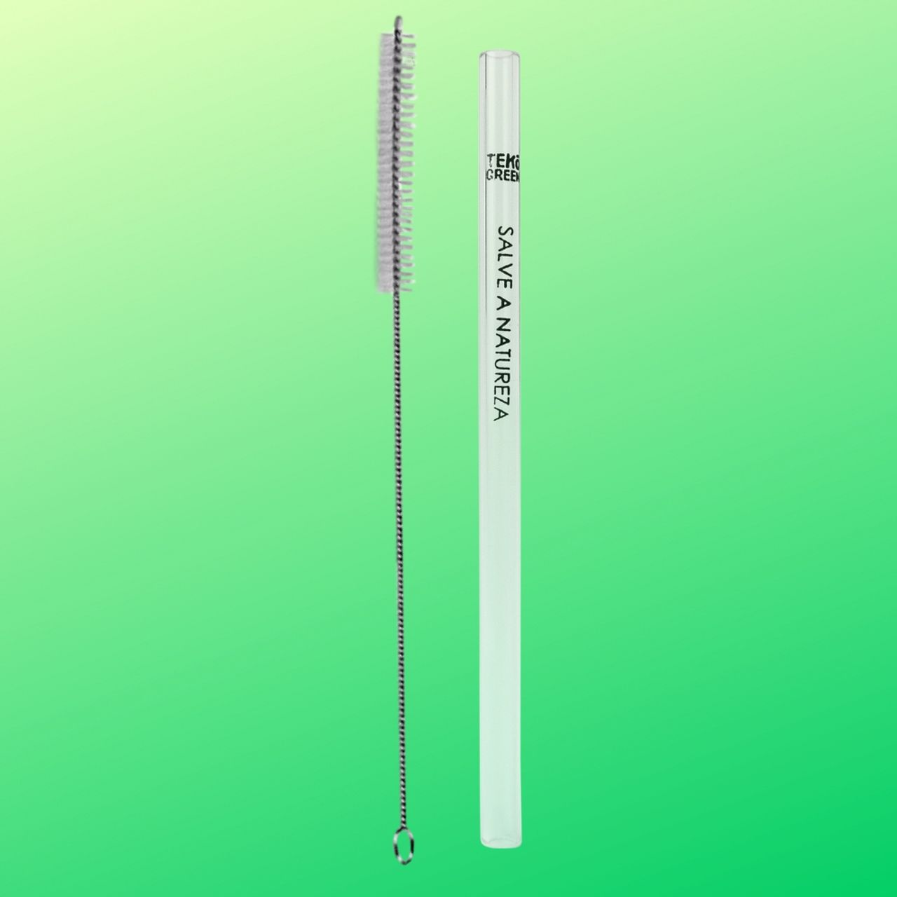 Kit Canudo Ecológico Tekógreen - Ø12 mm X 23cm + Escova Higiênica