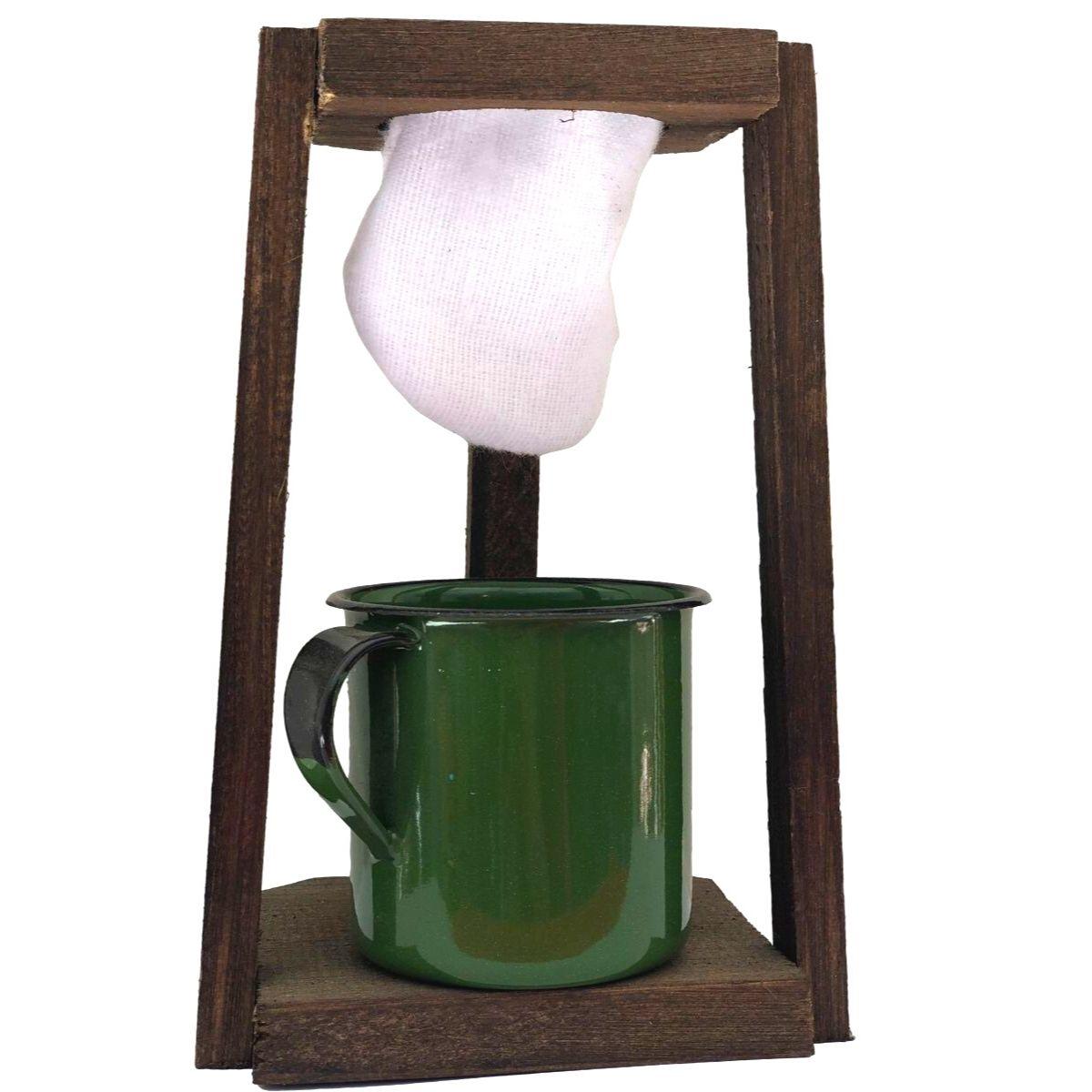 Kit Coador de Café em Madeira com Caneca Esmaltada Verde 180ml