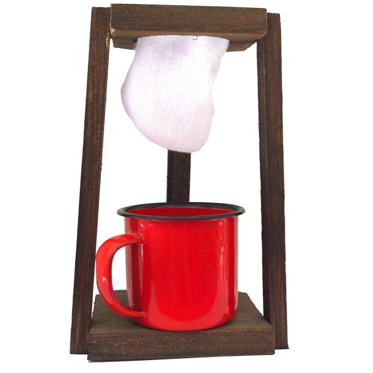 Kit Coador de Café em Madeira com Caneca Esmaltada Vermelha 150ml