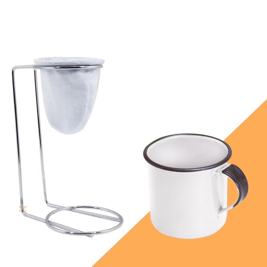 Kit Mini Coador de Café Com Caneca Branca