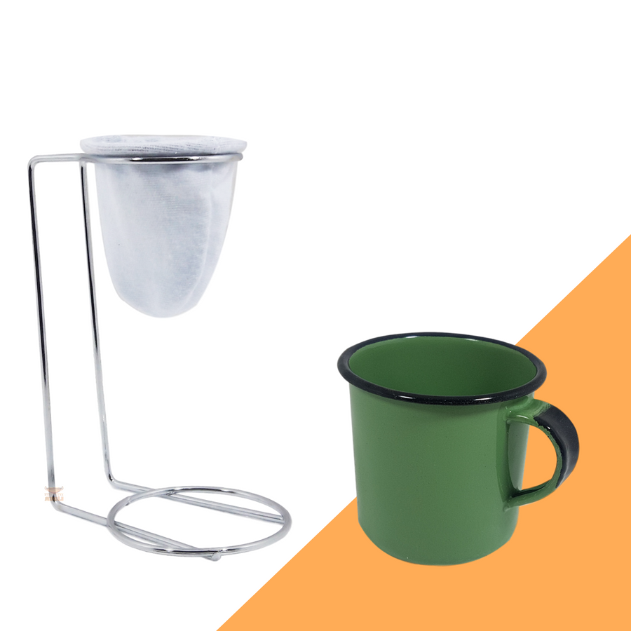 Kit Mini Coador de Café Com Caneca Verde