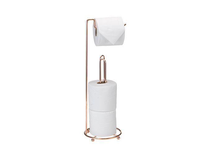 Suporte chão p/ pap higiênico triplo premium rose gold