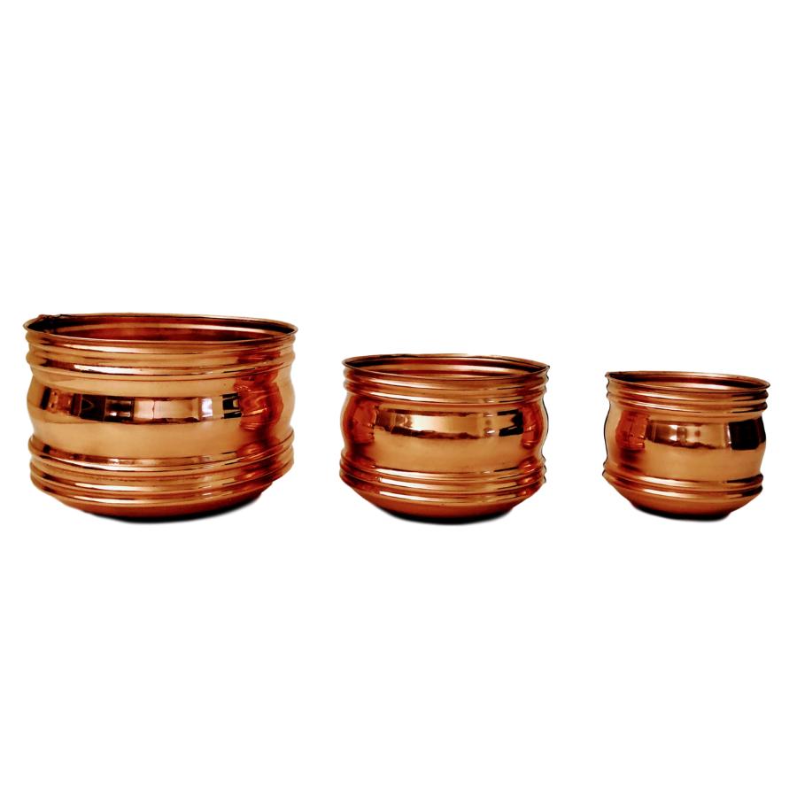 Trio de Cachepots em Cobre Decorativo