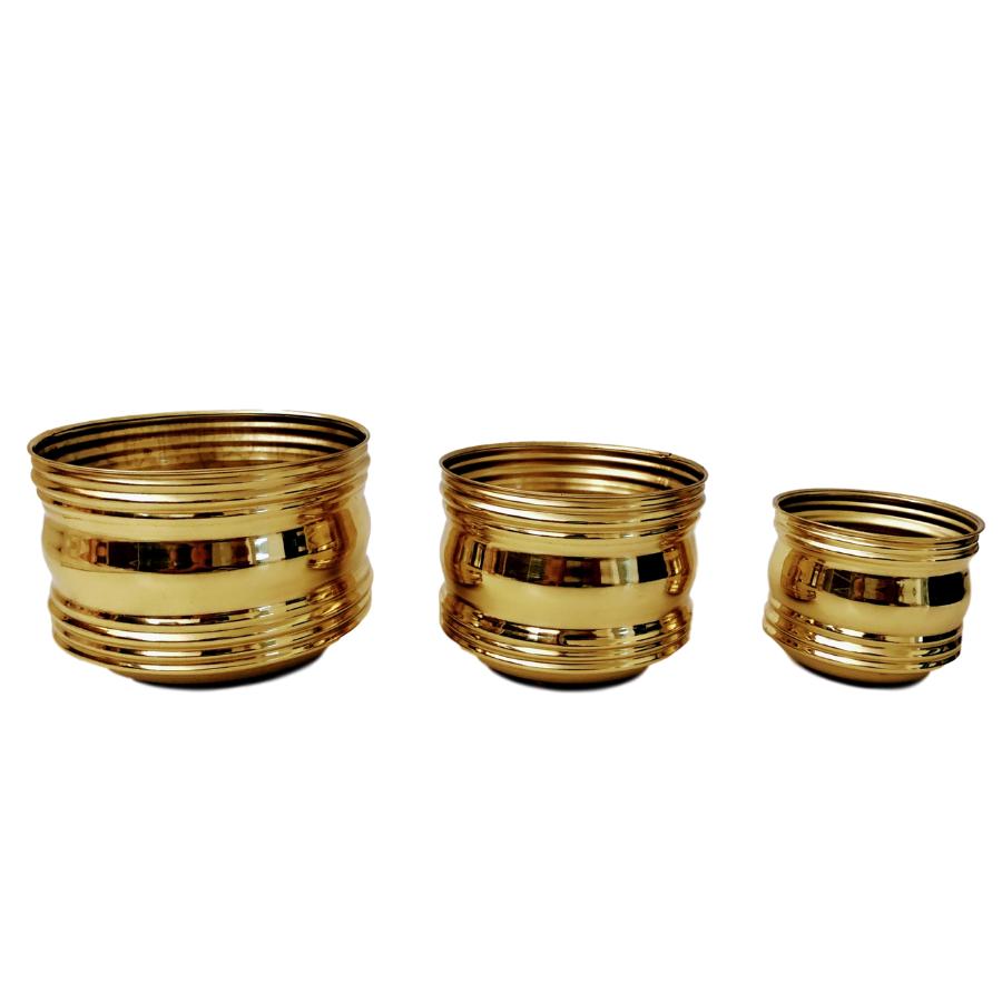 Trio de Cachepots em Latão Decorativo