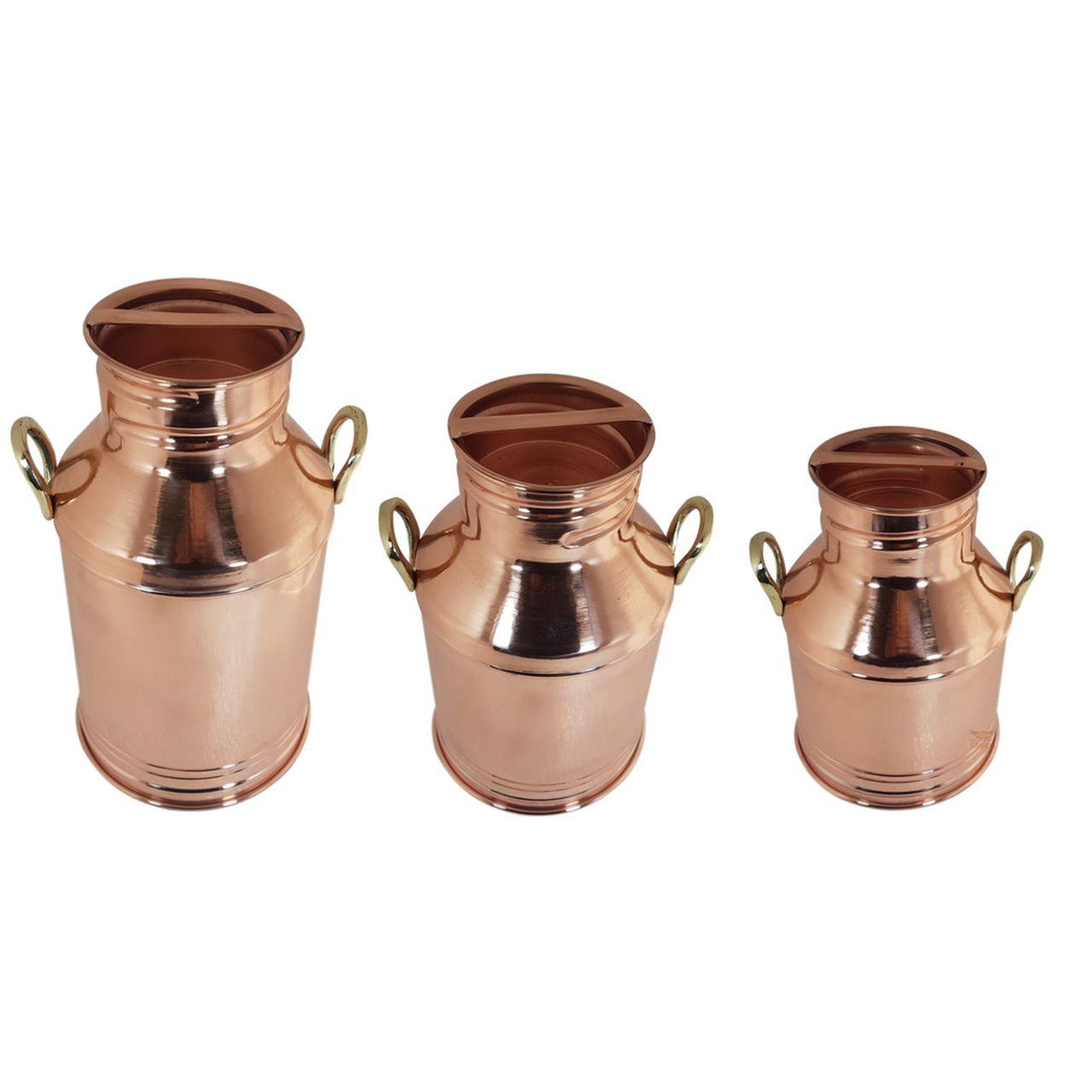 Trio de Leiteira em Cobre com Alças de Bronze Gigante