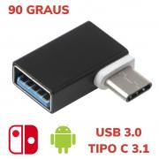 ADAPTADOR OTG TYPE-C PARA USB SWITCH 90 GRAUS FEMEA 3.1 TIPO-C FAST METAL