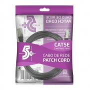 CABO DE REDE PATCH CORD CAT5E FTP BLINDADO GIGABIT - 2M - PRETO 5+