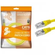 CABO DE REDE PATCH CORD CAT6 FTP 2M AMARELO BLINDADO