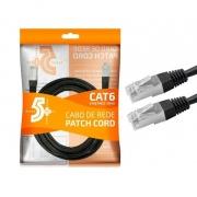 CABO DE REDE PATCH CORD CAT6 FTP 5M PRETO BLINDADO
